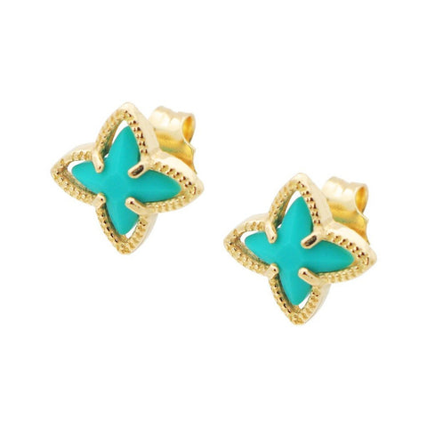 Gold Plated Turquoise Flower Earrings