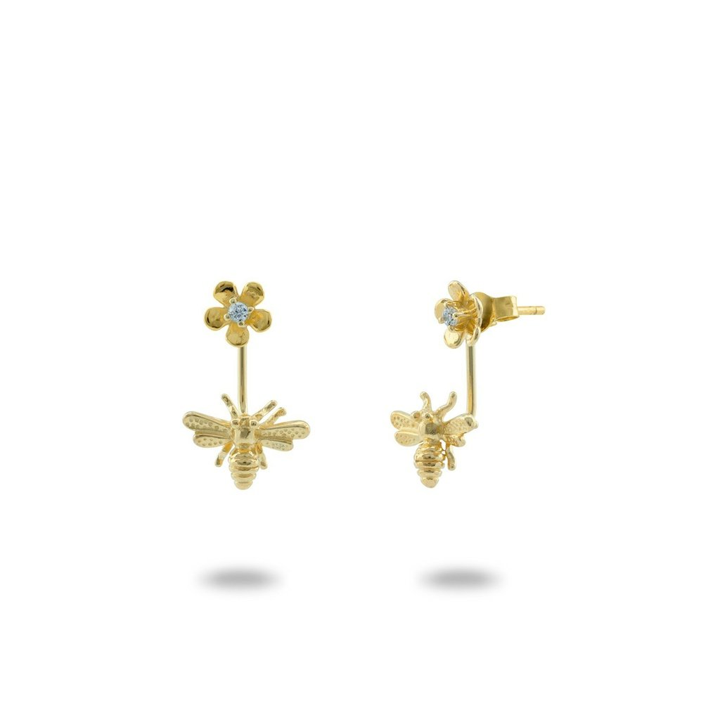 Gold Bumble Bee Flower Earrings