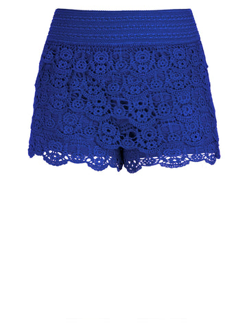 Layered Lace Shorts In Deep Sea
