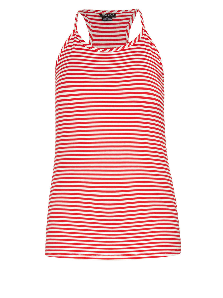 Stripe Sailor Tank Top In Red