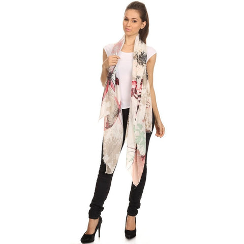 Watercolor Butterfly Print Blanket Scarf Shawl - Available In More Colors