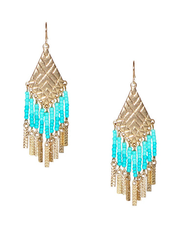 Seed Bead Fringe Earrings