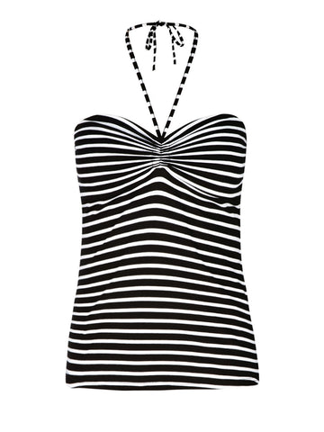 New! - Colored Strappy Halter Top in Black