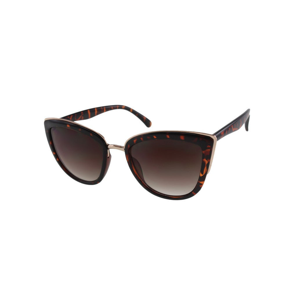 Womens Oversize Tortoise Cateye Sunglasses with Metal Accents