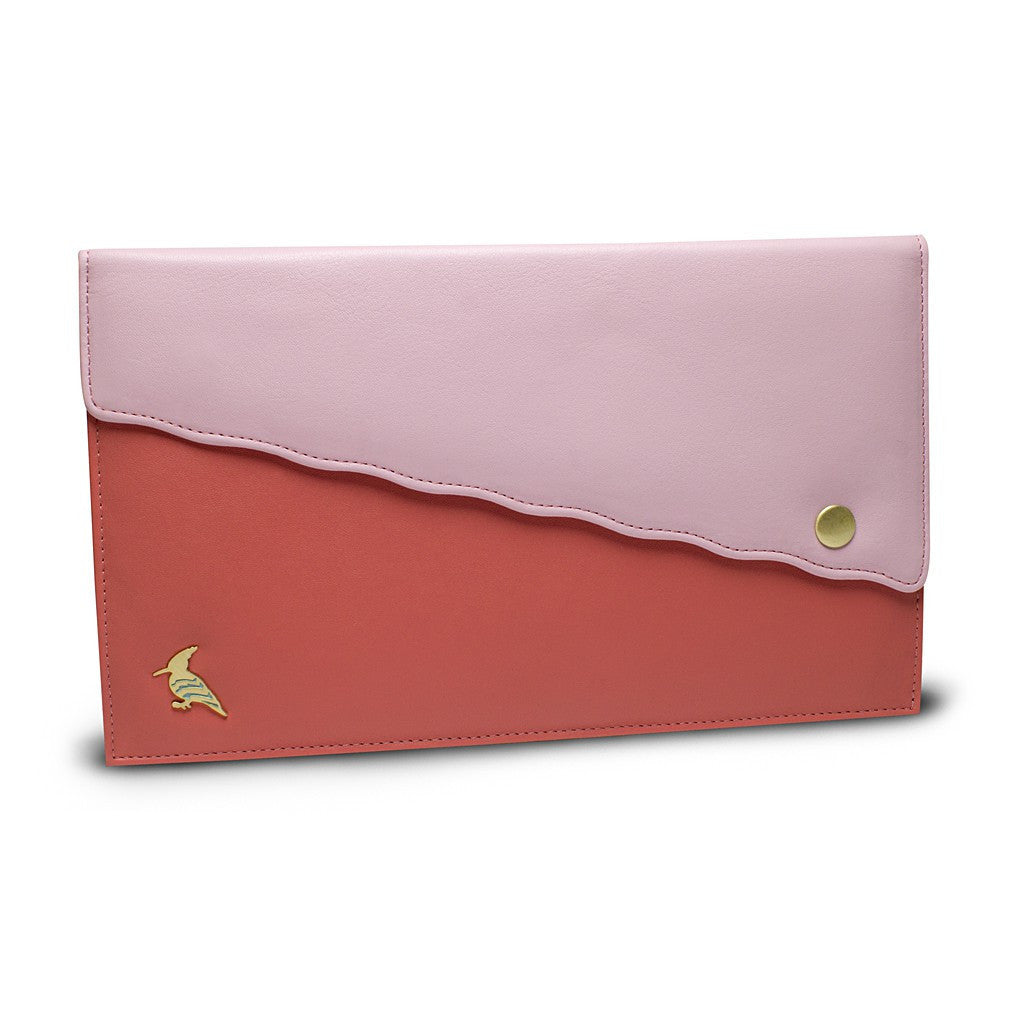 Pink Leather Document/Photo Holder - Swan