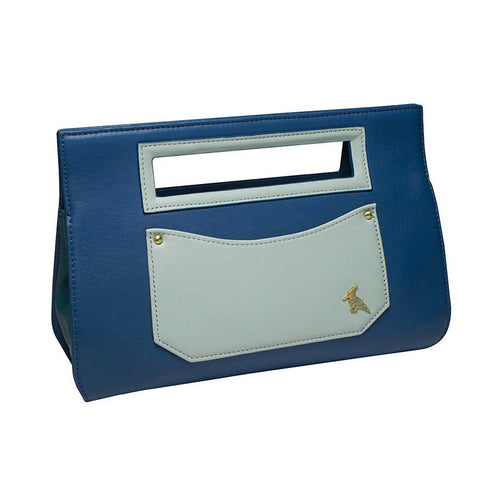 Blue Leather Clutch Handbag - Whippoorwill