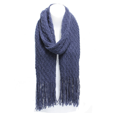 Navy Winter Honeycomb Rectangle Scarf with Fringe