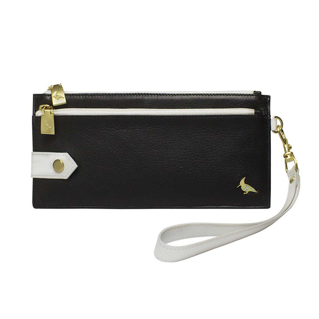 Black Leather Wristlet Wallet - Kiskadee