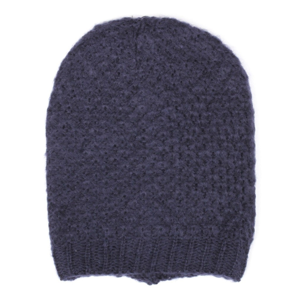 Navy Blue Ringlet Textured Slouchy Beanie