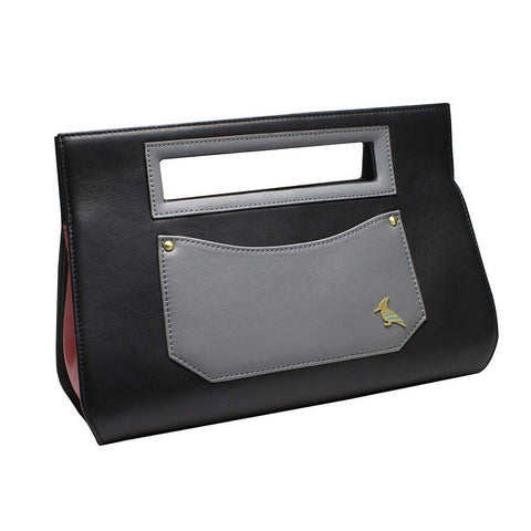 Black Grey Leather Clutch Handbag - Whippoorwill