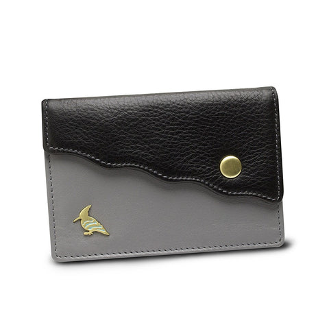 Black Leather Business Card Holder Wallet - Swan