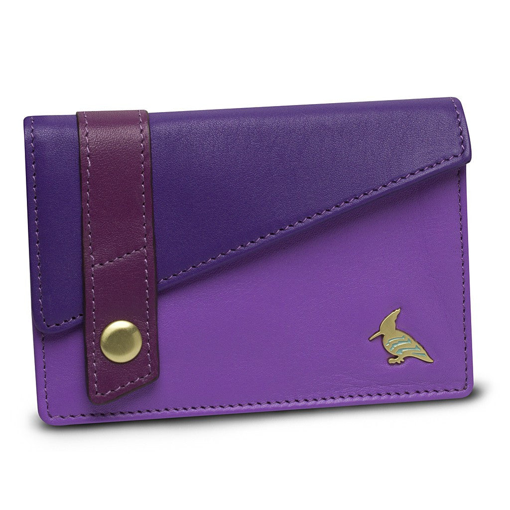 Purple Leather Business Card Holder Wallet - Sparrow