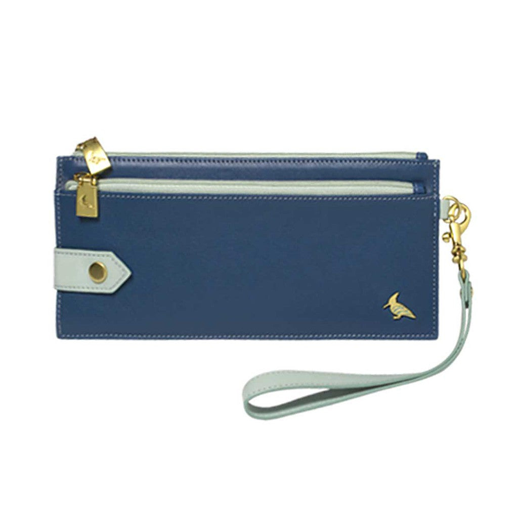 Blue Leather Wristlet Wallet - Kiskadee