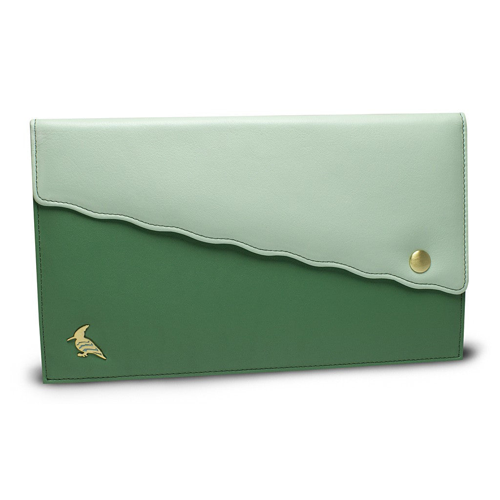 Green Leather Document/Photo Holder - Swan