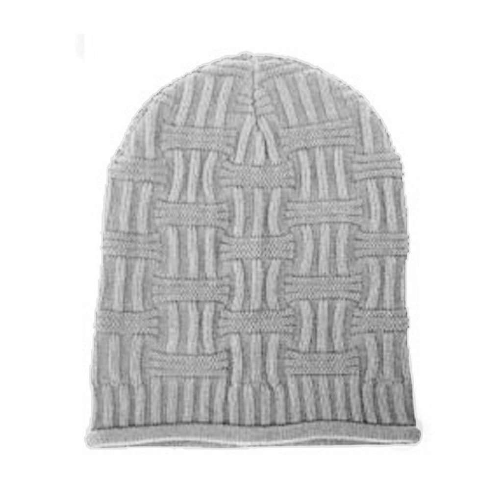 Gray Unisex Basket Weave Slouchy Beanie Hat Mid Weight