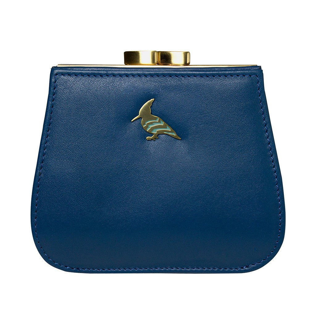 Blue Leather Coin Purse Wallet - Canary