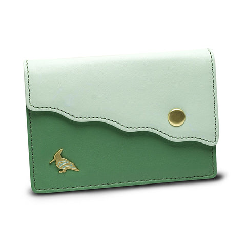 Green Leather Business Card Holder Wallet - Swan