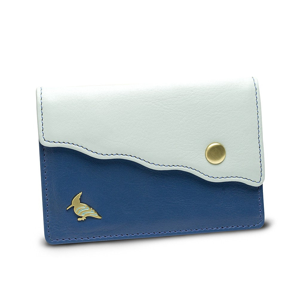 Blue Leather Business Card Holder Wallet - Swan