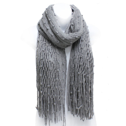 Gray Winter Knit Fish Net Weave Oblong Scarf with Fringe