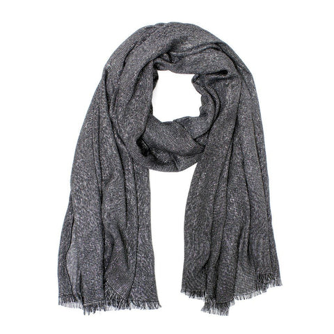 Metallic Sparkle Wrap Shawl Scarf in Dark Grey