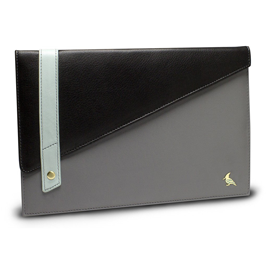 Black Grey Leather Portfolio Large - Sparrow