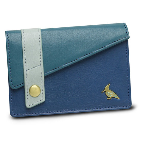Blue Leather Business Card Holder Wallet - Sparrow