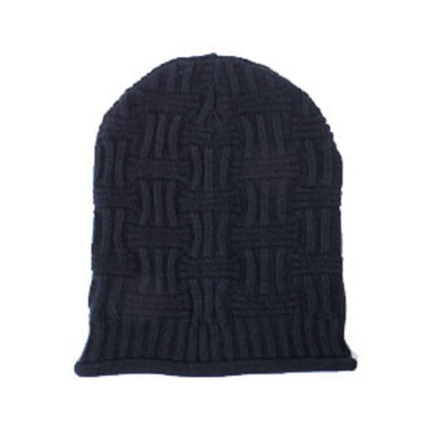 Black Unisex Basket Weave Slouchy Beanie Hat Mid Weight