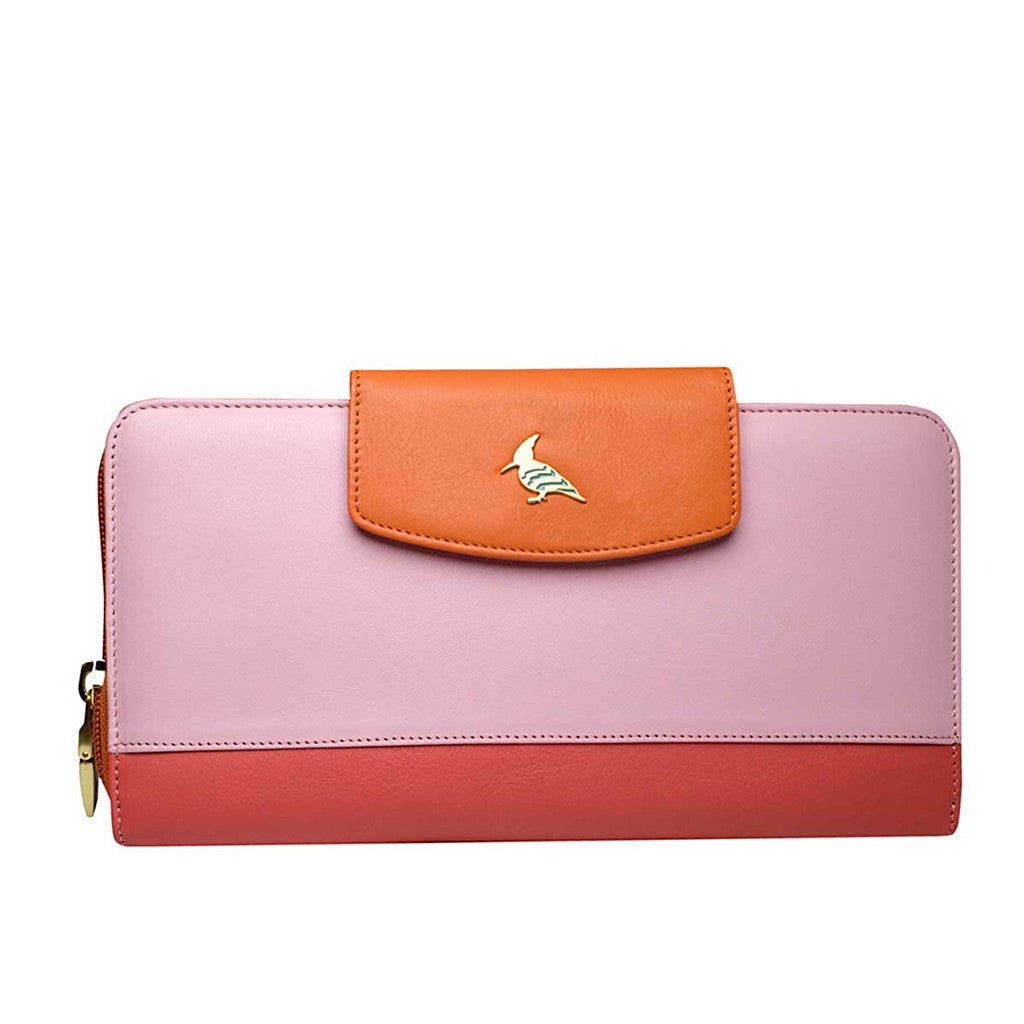 Pink Leather Travel Wallet & Passport Cover - Roadrunner