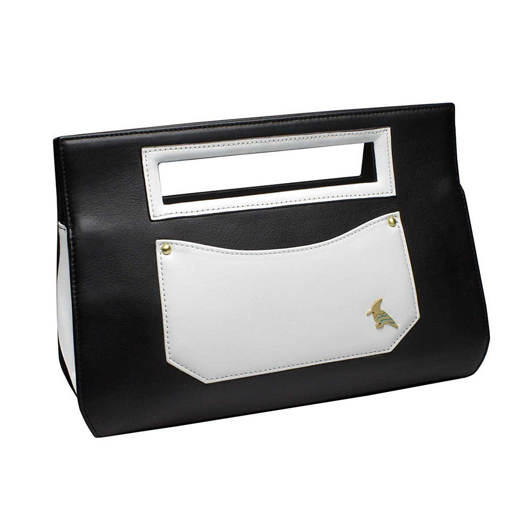 Black White Leather Clutch Handbag-Whippoorwill