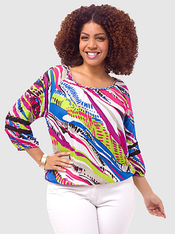 Abstract-Stripe Peasant Blouse