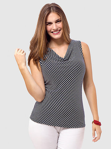 Drape-Neck Stripe Top
