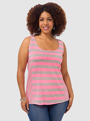 Neon Stripe Tank In Pink