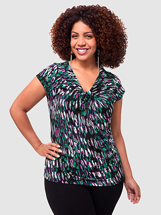 Spots Cap-Sleeve Twist Top