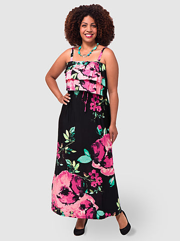 Printed Ruffle Maxi Dress