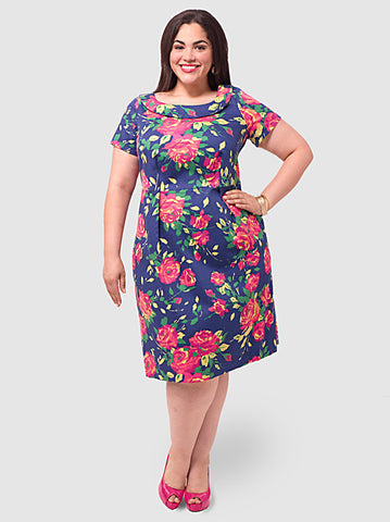 Navy Rose Dress