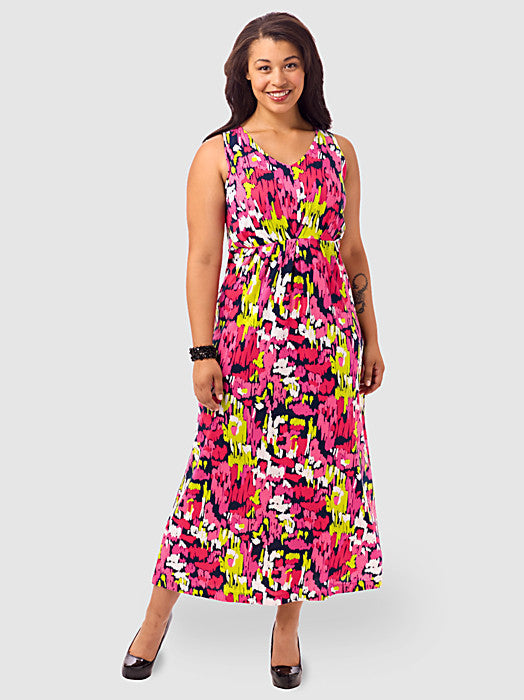 Abstract Printed Pleated Maxi Dress