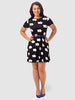 Swing Dress In Mono Flower Print