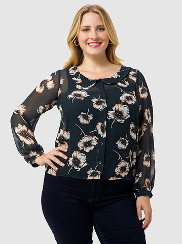 Blouse With Drop Collar In Pansy Print
