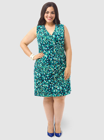 Floral Print Faux Wrap Sheath Dress