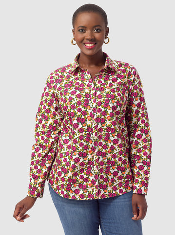 Button Front Shirt In Raspberry Floral