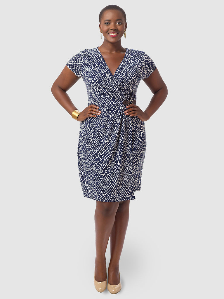 Snakeskin Print Faux-Wrap Dress