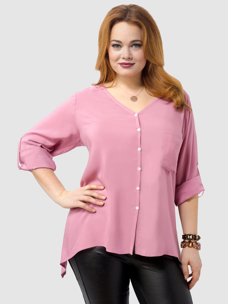 Rolled Sleeve Pocket Shirt In Pink