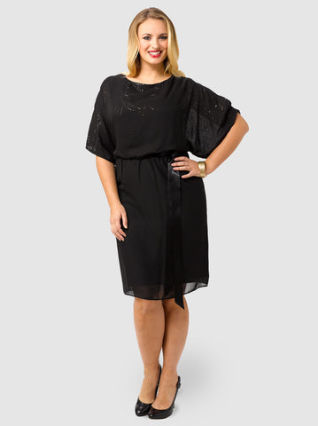 Cold Shoulder Tie Waist Blouson Dress