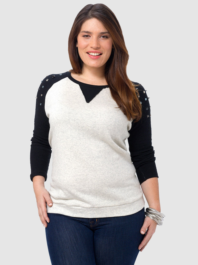 Sweatshirt with Jewel Shoulder