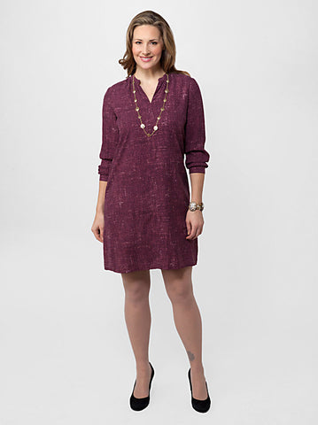 Tweed Print Silk Shirt Dress