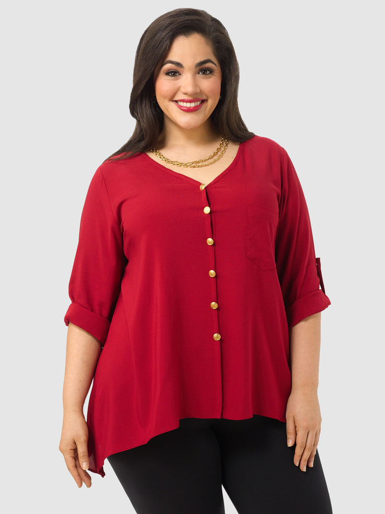 Rolled Sleeve Shirt with Gold Buttons In Red