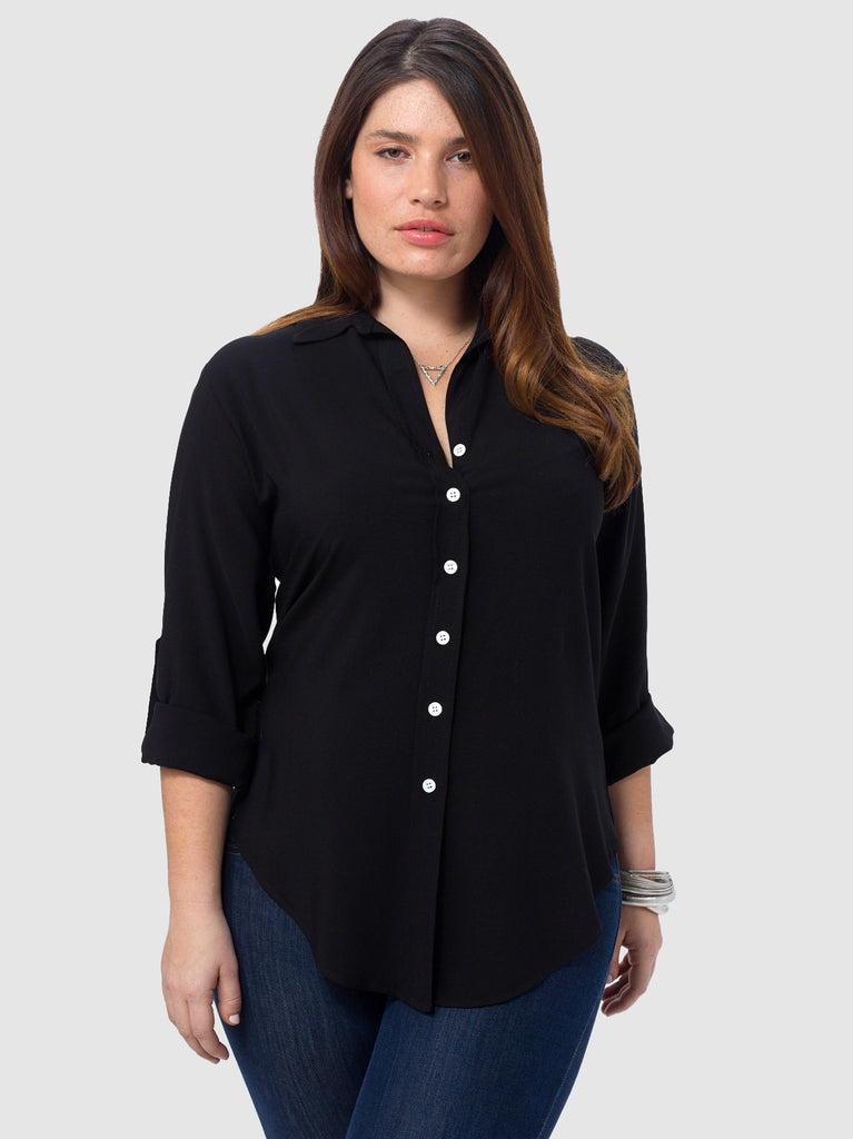 Roll Up Sleeve Shirt In Black