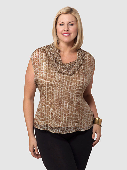Sleeveless Metallic Animal Print Blouse