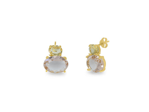 Rose Yellow Citrine Purse Earrings