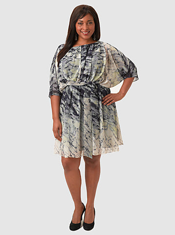 Amanda Printed Dolman Dress